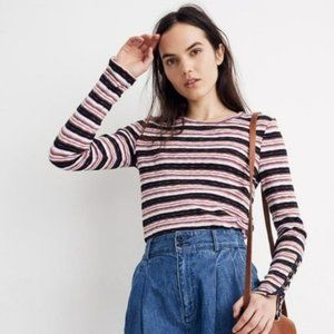 NWT Madewell Elsie Stripe Button Sleeve Knit Tee